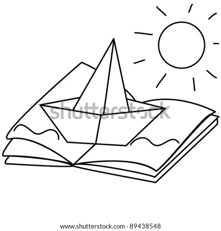 creative paper illustration with book, origami boat, waves and sun, line art, coloring