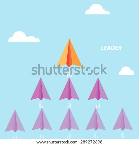 Creative paper rocket sign and white cloud on blue sky. Business and leadership concept, teamwork sign. Vector illustration - stock vector