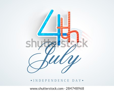 Creative paper text 4th of July on national flag waves background for American Independence Day celebration. - stock vector