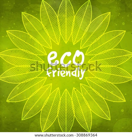 Creative pattern with shiny green leaves for Eco Friendly concept. - stock vector