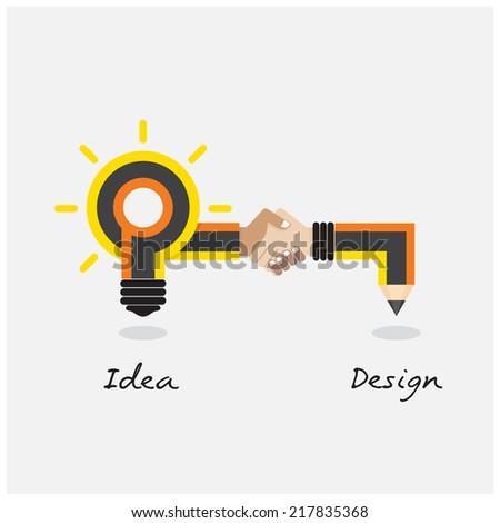 Creative pencil and light bulb design. Flat design style modern concept. vector illustration - stock vector