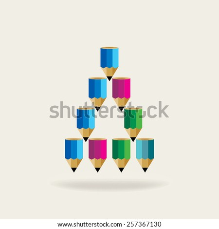 creative pencil created triangle alphabet A idea concept  - stock vector