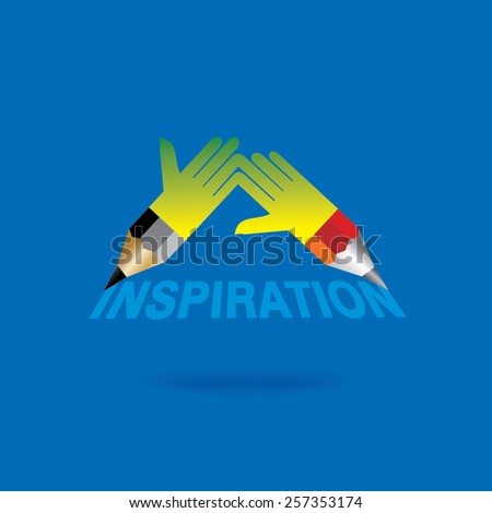creative pencil hand connecting inspiration idea concept  - stock vector