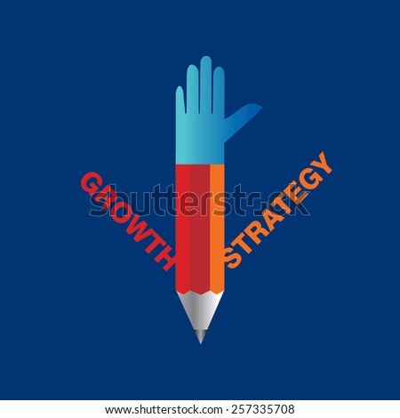 creative pencil hands growth and strategy concept vector - stock vector