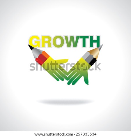 creative pencil hands growth concept vector - stock vector