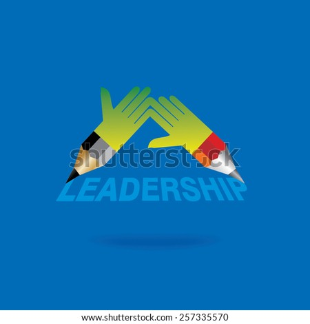 creative pencil hands leadership concept vector - stock vector