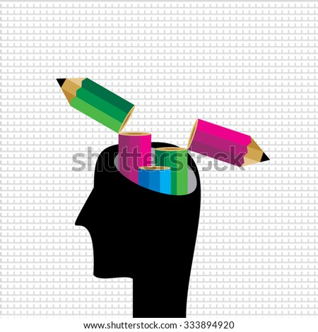 creative pencil idea vector with human head