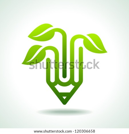 Creative pencil with green leaf - stock vector