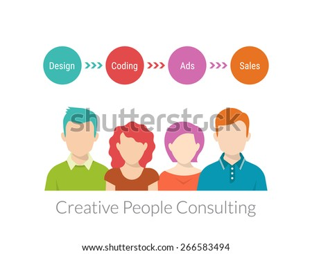 Creative people consulting with timeline. Text outlined. - stock vector