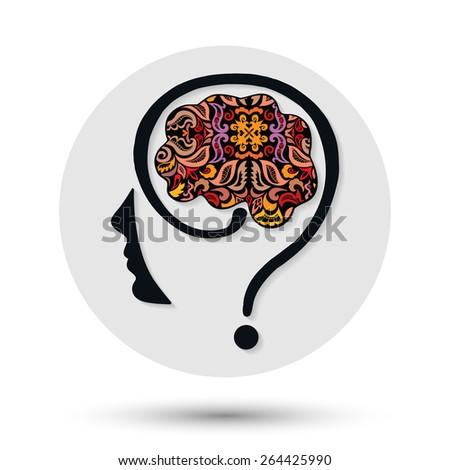 Creative people icon. Question mark human head symbol, vector. Creativity brain, Vector illustration, ornamental pattern - stock vector