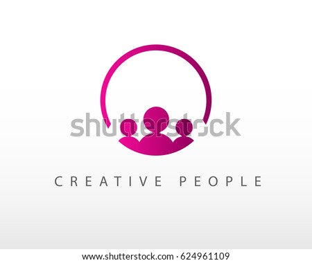 creative people logo design template circle stock vector royalty