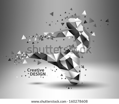 Creative people shapes created by triangles - stock vector