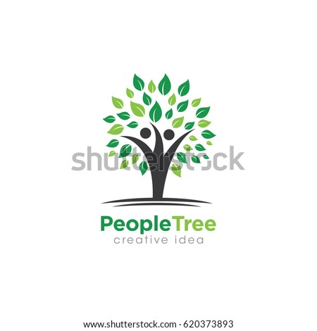 Creative People Tree Concept Logo Design Stock Vector 620373893