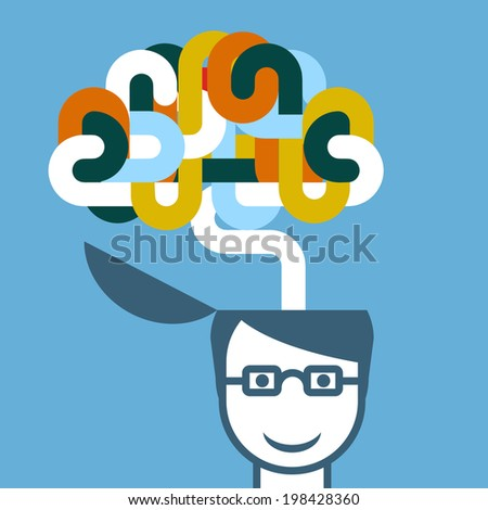Creative person - head with imaginative brain - stock vector