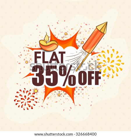 Creative poster, banner or flyer design of Sale with flat 35% off for Indian Festival of Lights, Happy Diwali. - stock vector