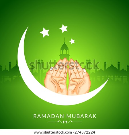 Creative poster, banner or flyer design with praying human hands illustration on shiny green background - stock vector