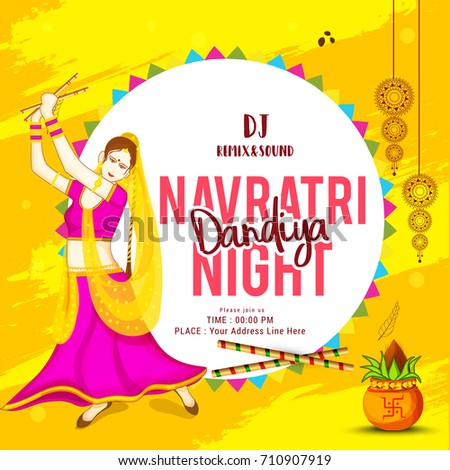 Creative poster flyerfestival dandiya celebrationnavratri dandiya creative poster or flyerfestival of dandiya celebrationnavratri dandiya night invitation card background stopboris Images