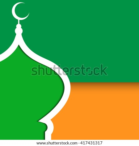 Creative poster with mosque and paper effect vector illustration. Can be use for ramadan kareem poster.