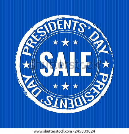 creative President Day rubber stamp with blue background - stock vector
