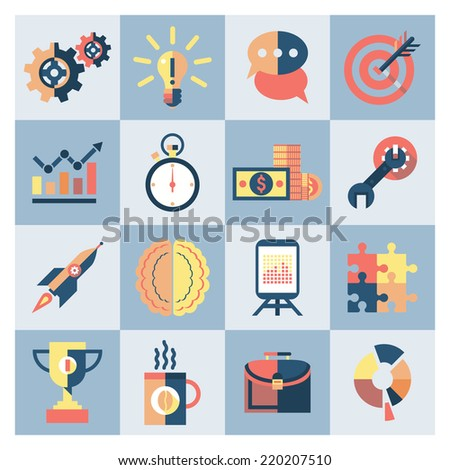 Creative process research brainstorming productivity icons set isolated vector illustration - stock vector