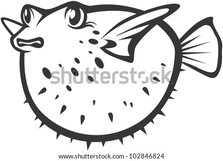 Creative Pufferfish Illustration - stock vector