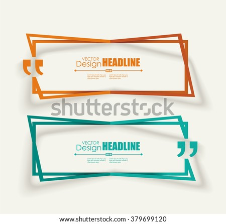Creative Quotation Mark Speech Bubble. Quote sign icon. Modern block quote and pull quote design elements. - stock vector