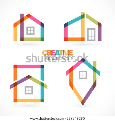 Creative real estate icons set. - stock vector