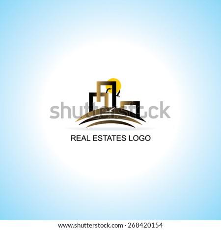 creative real estates sample logo vector illustration  - stock vector