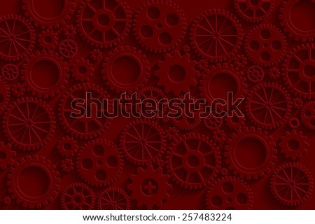 Creative red gears background. Eps10 vector for your design.