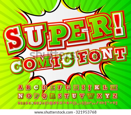 Creative red-green high detail comic font. Alphabet in style of comics, pop art. Multilayer funny colorful letters and figures for decoration of kids' illustrations, websites, posters, comics, banners - stock vector