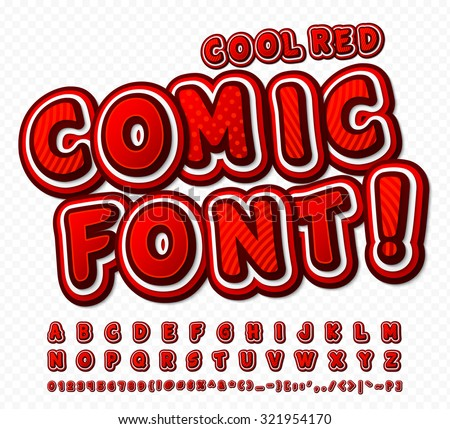 Creative red high detail comic font. Alphabet in style of comics, pop art. Multilayer funny colorful letters and figures for decoration of kids' illustrations, websites, posters, comics, banners - stock vector