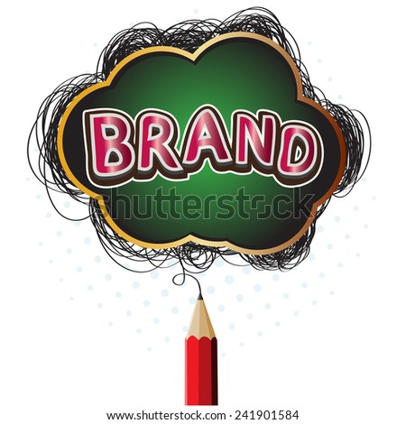 Creative red pencil drawing brand concept symbol - stock vector