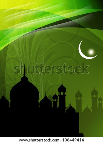 Creative religious eid background with mosque. Vector illustration - stock vector