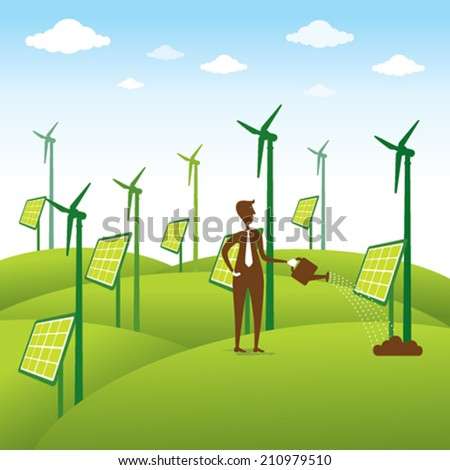 creative renewable energy source or men giving water to windmill or solar panel concept vector - stock vector