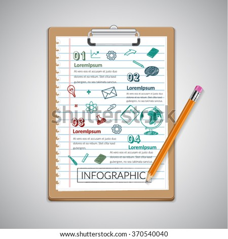 Creative report  on notepaper  infographic  with pencil. - stock vector
