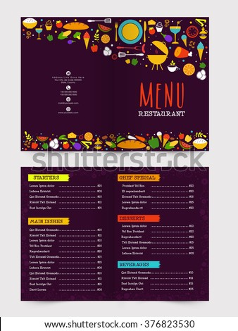 Creative restaurant menu card design with front and back page presentation. - stock vector