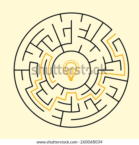 creative round maze with bulb icon isolated on beige background - stock vector