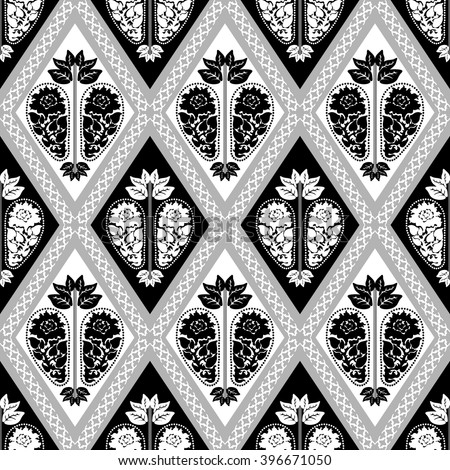 Creative royal seamless damask pattern with hand drawn paisley ornament and rhombus borders. Luxury Art Deco wallpaper collection. Floral motifs, bohemian elements, roses, leaves. Black, white, grey.