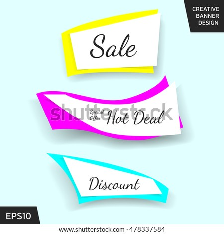 Creative sale banner collection. Set of shiny sale beautiful elements for promotion, advertisement and other purposes. Website sale banner or sticker design. Vector sale illustration, sale art eps 10