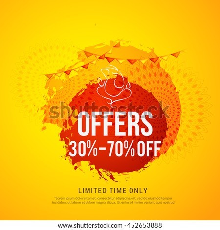 Creative sale poster or sale banner for festival of ganesh chaturthi celebration.
