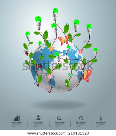 Creative save the world with tree in light bulb ideas concepts of renewable power energy, Vector illustration modern design template