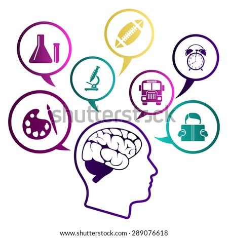Creative school design with icons. EPS 10 vector illustration without transparency. - stock vector