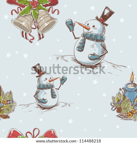 Creative seamless Christmas hand drawn texture with cute jingle bells, cheerful snowman and burning candle on star backdrop - stock vector