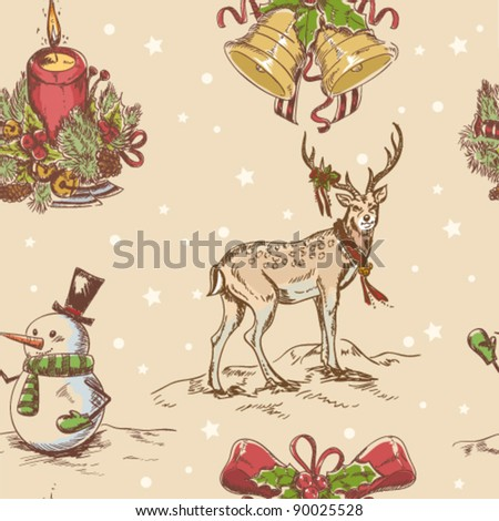 Creative seamless Christmas hand drawn texture with cute  Santa deer, jingle bells, doodle snowman and burning candle on star backdrop. Vector illustration - stock vector