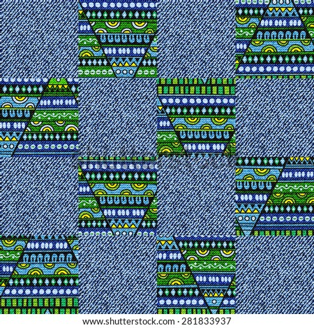 Creative seamless patchwork pattern of colored elements,  pattern with denim jeans background