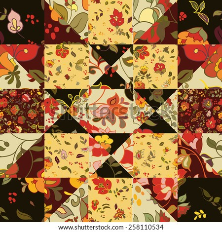 Creative seamless patchwork pattern with flowers. Vintage boho style - stock vector