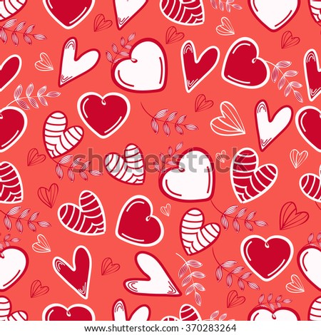 Creative seamless pattern of hearts and leaves for Happy Valentine's Day celebration. - stock vector