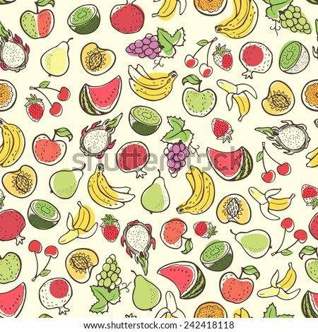 Creative seamless pattern with hand drawn fruits. Perfect for packaging, wrapping paper design. - stock vector