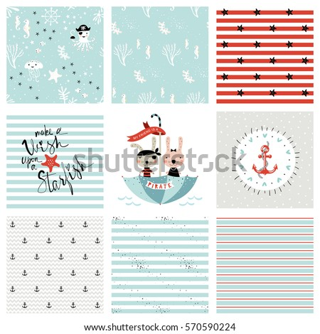 Creative seamless patterns prints set pirate stock vector creative seamless patterns and prints set pirate and marine design for fashion kids wear stopboris