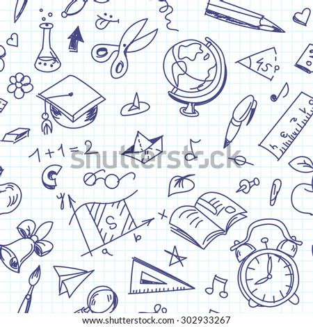 Creative seamless school pattern with pen drawings on copy book paper